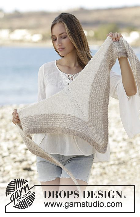 Knitted shawl in garter stitch and stripes, worked in DROPS Alpaca Bouclé. Free pattern by DROPS Design.