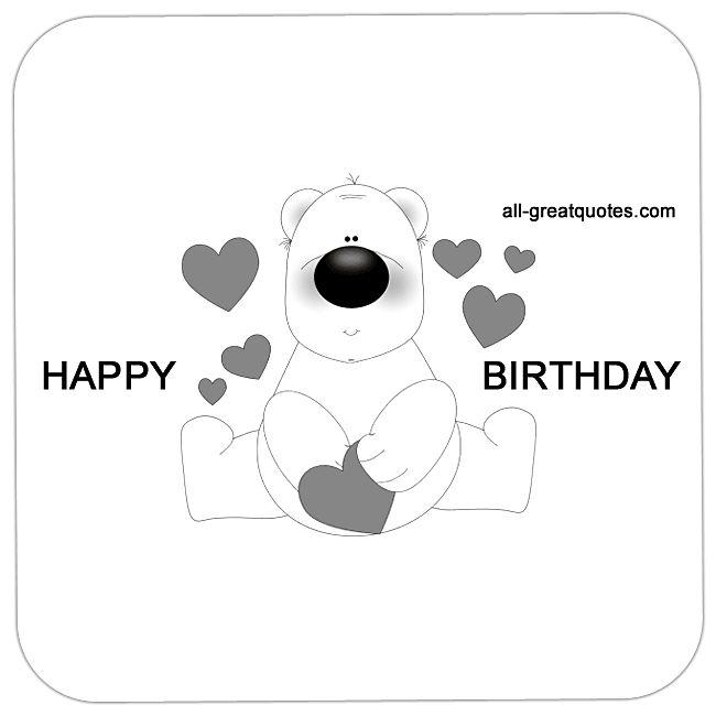 Happy Birthday Teddy Bear Love Hearts Animated Card   all-greatquotes.com #HappyBirthday #BirthdayWishes