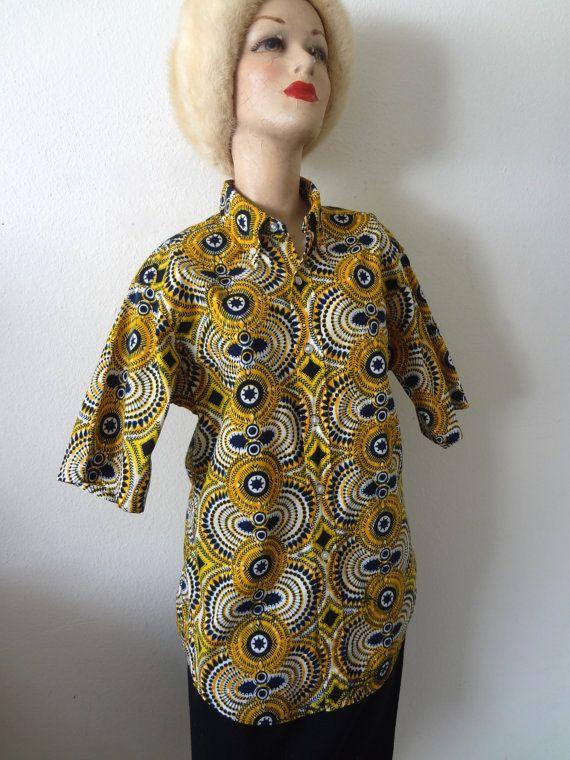 1960s Ethnic Print Shirt  by NESTdesignstudio