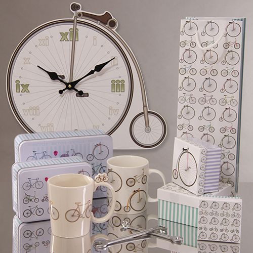 Bicycle Range Gift Items including Gift bags, Gift boxes, Tin Cases, Picture Clock and New Bone China Mugs #retro #bike #mug #giftwrap #giftware