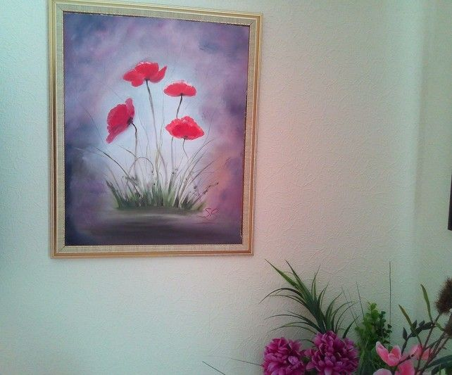 Red Vibrant Poppies in Oil, Canvas Board Painting, Surreal Poppy Art, Colourful  £40.00