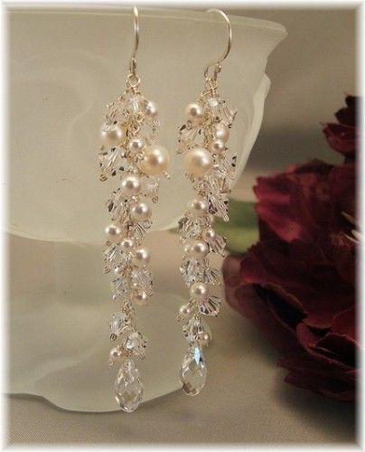 WEDDING DAY EARRINGS - ICICLE PEARL EARRINGS - LONG BRIDAL EARRINGS   BridalChic - Wedding on ArtFire