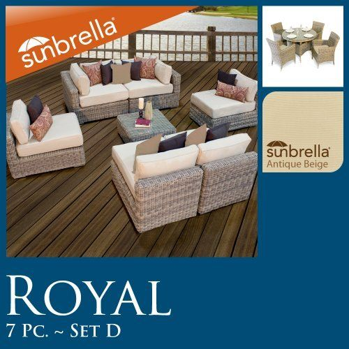 """Royal Outdoor Wicker Patio Furniture Set Deal 7 Pc Seating & 5 Pc Dining 07DP42 Sunbrella Covers!! by TK Classics. $3323.00. High quality round wicker in rich hues of vintage stone. Ultra Deep seating modular sectional, allows for a variety of creative configurations. Comes Standard with Sunbrella Cushions. High Density PE (polyethylene) recyclable wicker - NOT made with PVC which is toxic and non-recyclable. (2) Corner Sofa - 35"""" W x 35"""" D x 26"""" H (1) Coffee Table -..."""