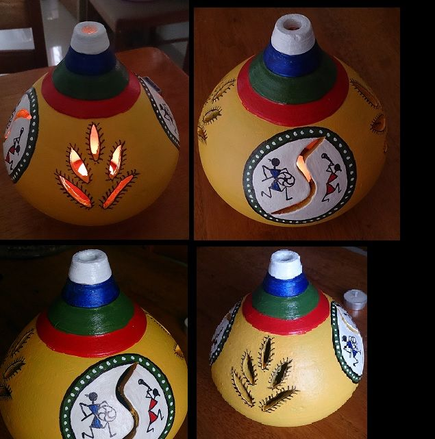 Terracotta Pot Painting with Warli design