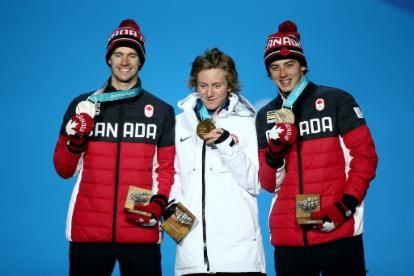 From right: Max Parrot (CAN), Redmond Gerard (USA), Mark McMorris (CAN)