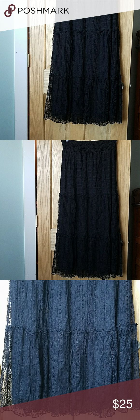 """ALYX Lace Maxi Skirt EUC ALYX Lace Maxi Skirt, size L. Worn only once. Fully lined and overlayed with delicate tiered lace. Waist is stretchy with smocked elastic. There are no snags or pulls in the lace.  Approximate measurements Waist 15 1/2"""" could stretch up to 20"""" Length 40"""" Alyx Skirts Maxi"""