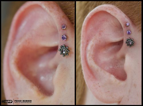adamandium: dansteinbacher: Triple forward helix piercings I...