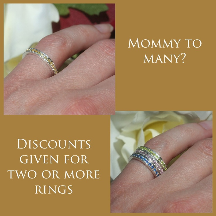 November Birthstone Mothers Ring in Sterling Silver - Simulated Citrine - LS970. $107.63, via Etsy.