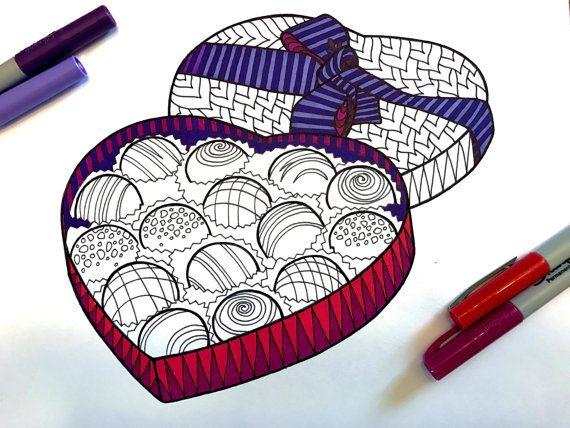 Valentine Chocolate Box  PDF Zentangle Coloring Page