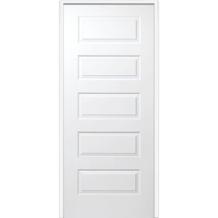 Milliken Millwork 32 in. x 80 in. Molded Rockport Smooth Primed Fire Rated 5-Panel Solid Core Composite Single Prehung Interior Door