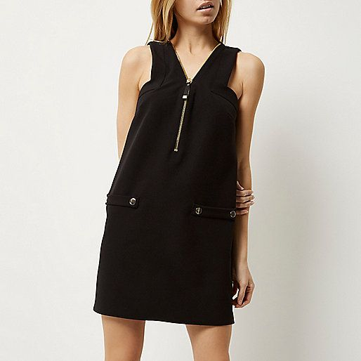 Black zip-up shift dress