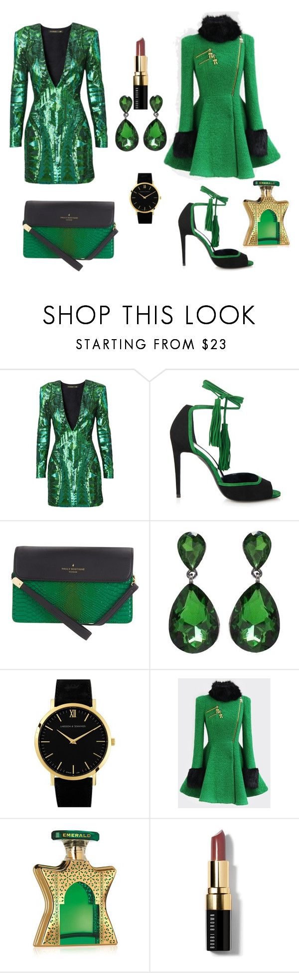 """Green Decadent"" by rharde-cene ❤ liked on Polyvore featuring Balmain, Pierre Hardy, Paul's Boutique, Larsson & Jennings, Bond No. 9 and Bobbi Brown Cosmetics"