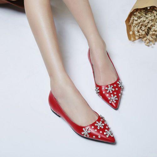 Womens Grace Stylish Rhinestone Pinty Toe Flats Slip On Date Party Boat Shoes