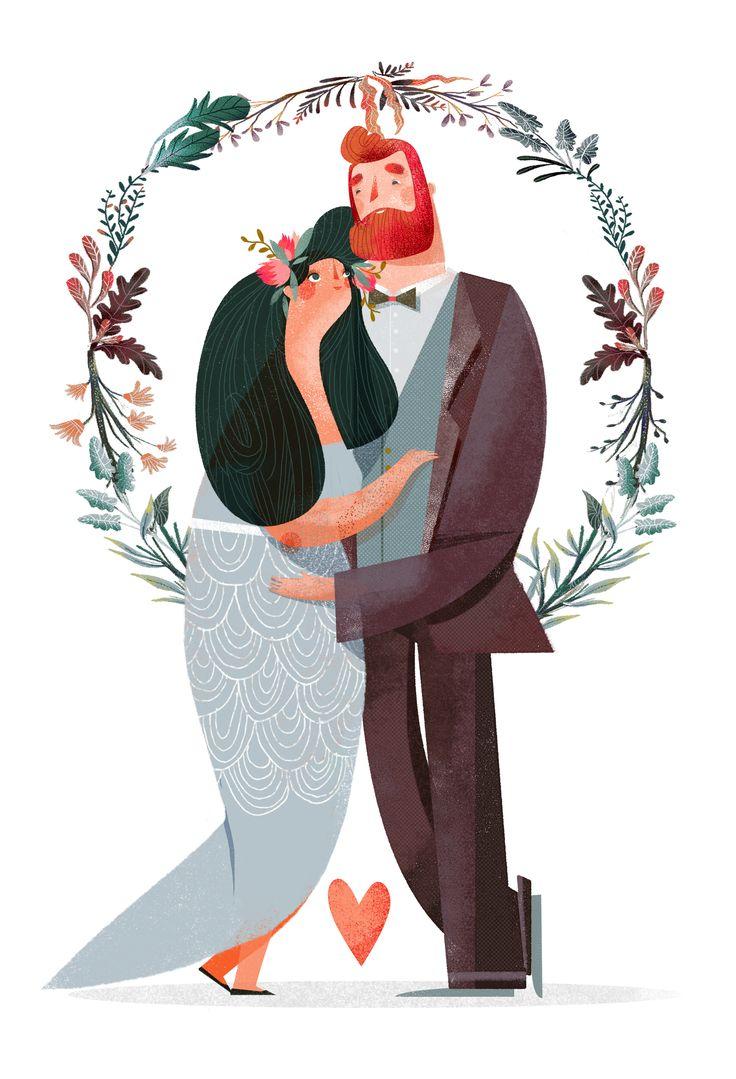 illustrazione di una coppia di sposini