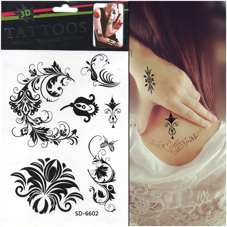Long Lasting Temporary Tattoos 1pcs/lot Black Ink Butterfly Tattoos ...