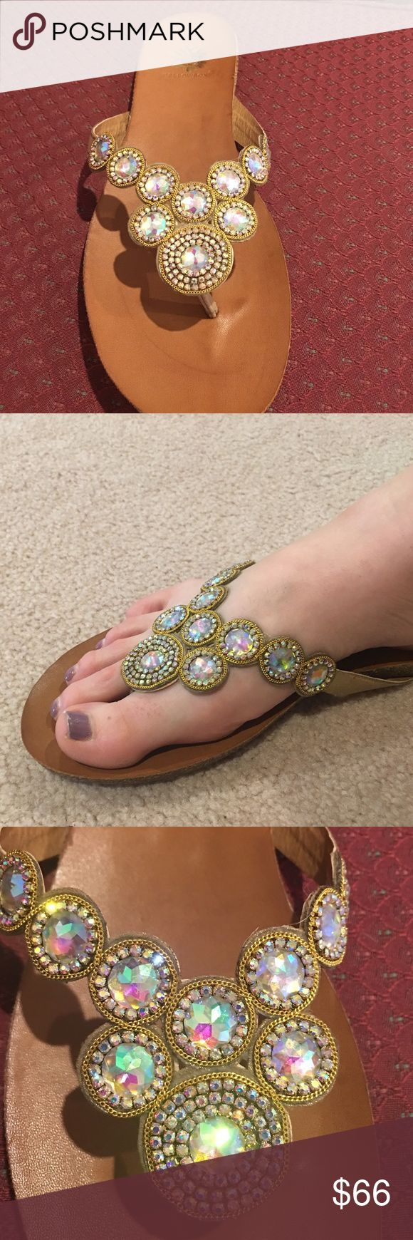 Yellowbox Nectarine embellished Gold Flip Flops Embellished uppers, flat Flip Flop Sandals Yellow Box Shoes Sandals
