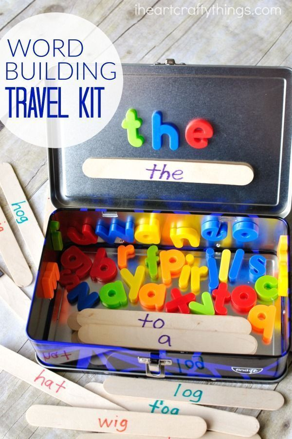 This word building activity travel kit is perfect for toddlers and preschoolers for long car rides. Use sight words, color words or word families.
