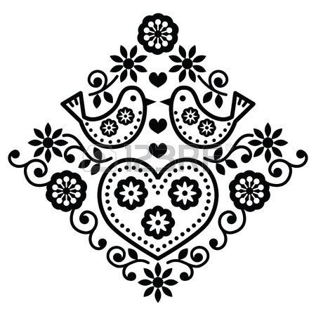 Népművészeti virág fekete vektor minta madarak Stock fotó - 33796380