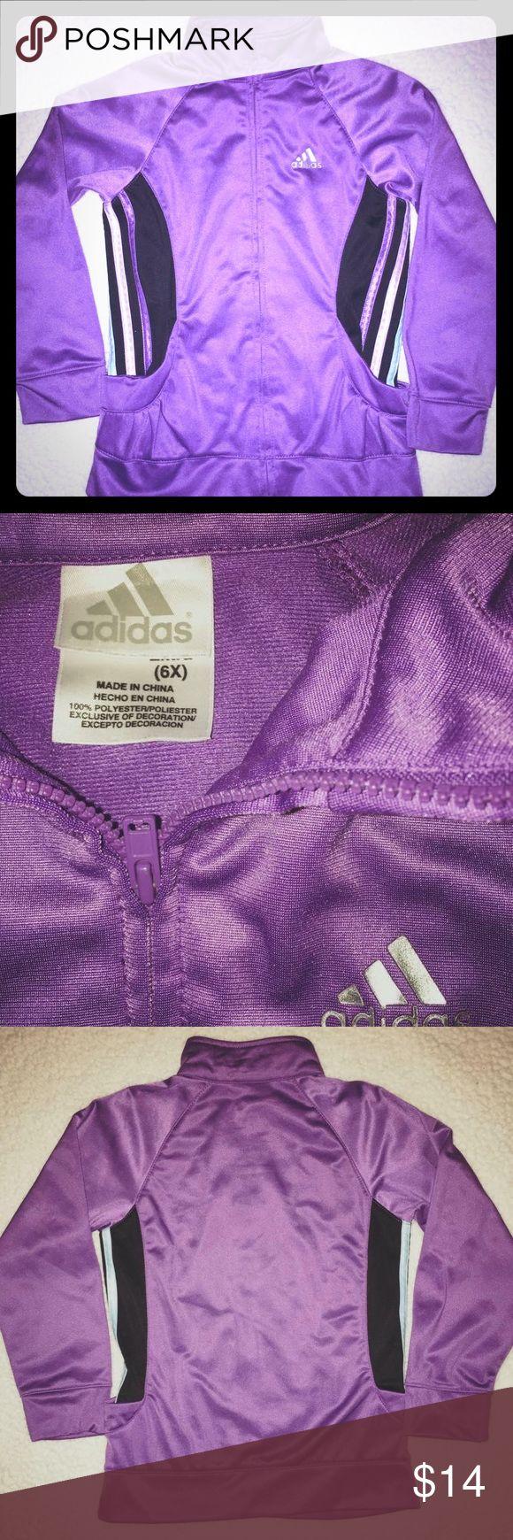 Adidas girls Sz 6X Zip Up Girls 6X Adidas Purple Zip up like new! TOO CUTE adidas Shirts & Tops Sweatshirts & Hoodies