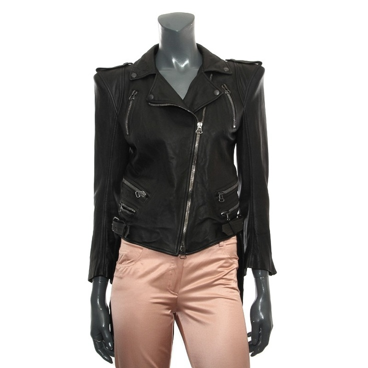 Balmain Motocycle Tuxedo-Tail Leather Jacket Jacket
