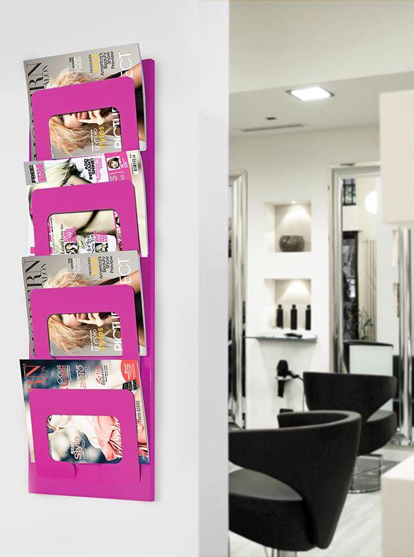 Design Zeitschriftenhalter Zeitschriften-Wandhalter Zeitungshalter Metall Weiss