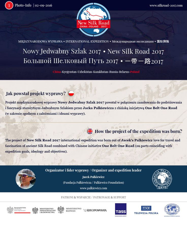 Photo - Info 1: Jak powstał projekt wyprawy Nowy Jedwabny Szlak 2017. http://silkroad-2017.com  |  Photo - Info 1: How the project of the New Silk Road 2017 expedition was born. http://silkroad-2017.com/en/