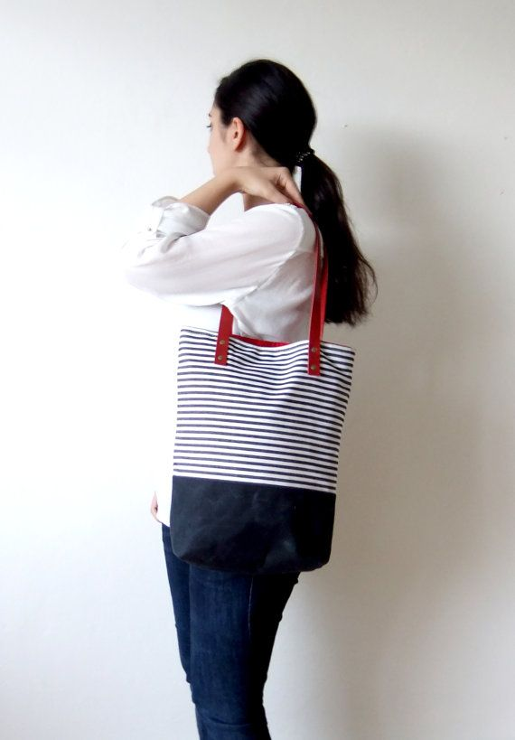 Waterproof Striped Tote Bag Waxed Canvas Base in by metaphore
