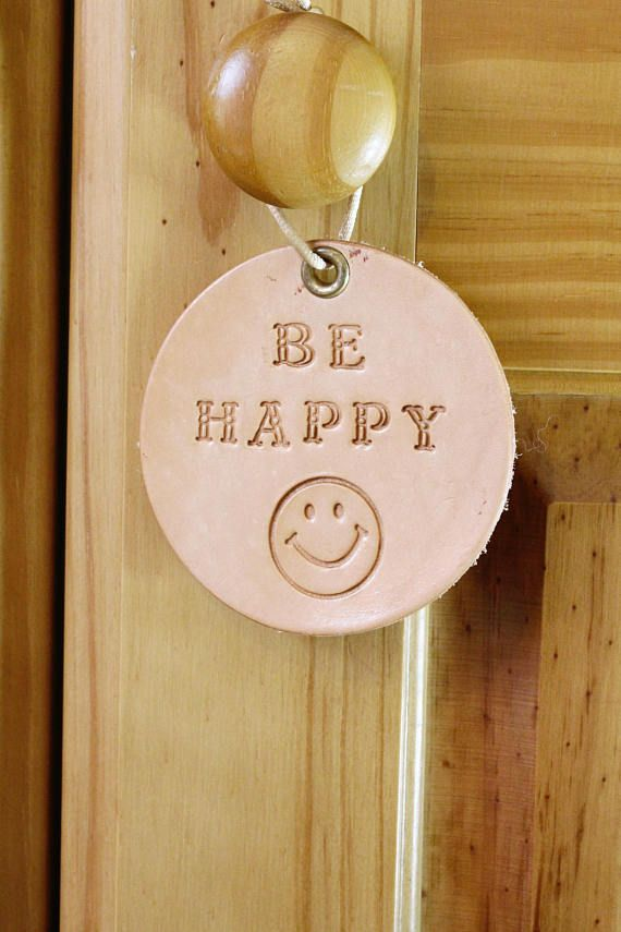 Be Happy Wall Hanging, Inspirational Leather Wall Decoration. Repin To Remember.