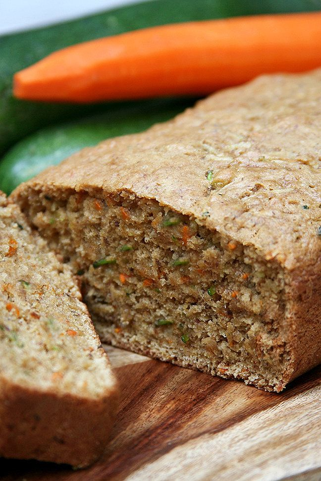 Throw out your old zucchini bread recipes because this is the only one you'll need. Mixed with grated carrot and applesauce to add fiber and natural sweetness, each slice is perfectly soft and moist.