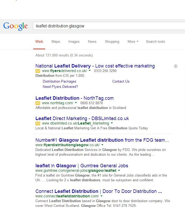 """We are on top of the Search Engines for our keyword """"leaflet distribution Glasgow"""" ! Well done to our SEO team! https://plus.google.com/100303664160130943208/posts/1ThenuRNZKE"""