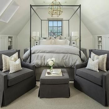 Attic Bedroom with Grey Canopy Bed and Grey Accent Chairs with Ottoman | Jackson and Leroy
