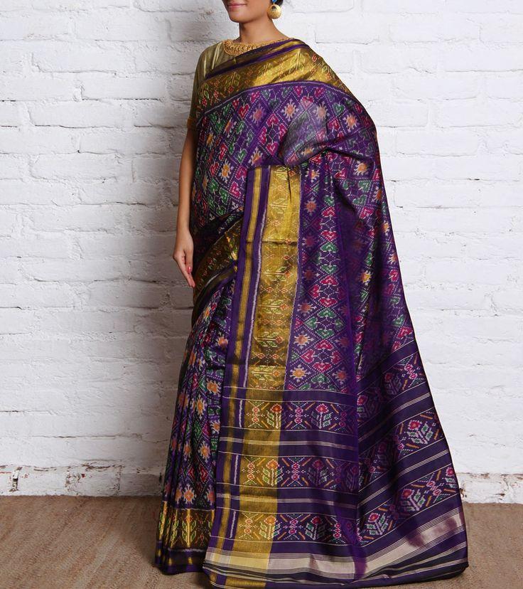 Purple Pure Silk Patola Saree with Zari Work