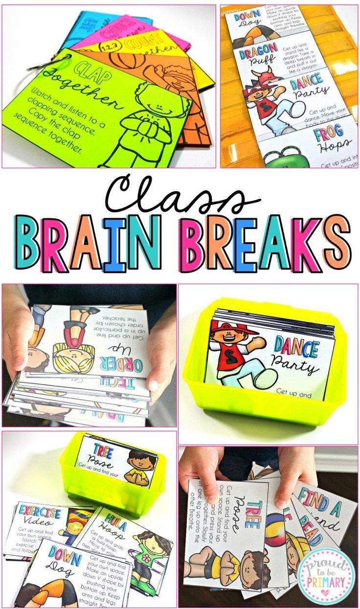 Class Breaks includes brain breaks and activities (games, centers, dances, songs, and more) for kids that can be implemented daily in the classroom as part of your classroom management system. These fun and energetic breaks will get your students out of their seats and moving.