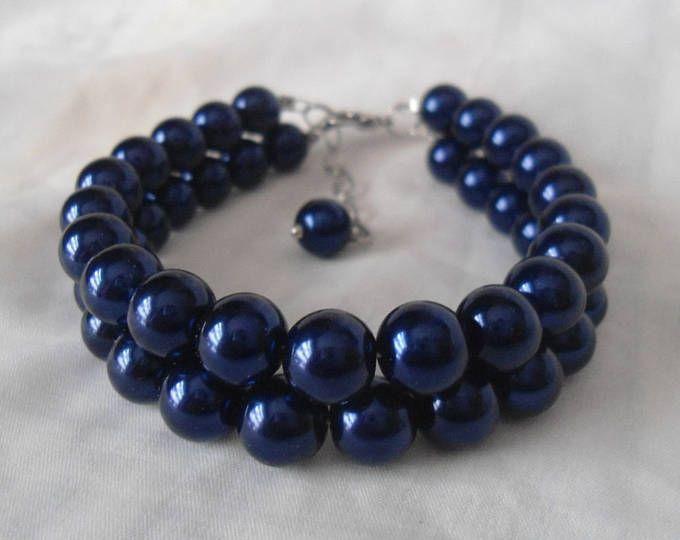 Pulsera de la perla azul marino, 2 hebras de perlas pulsera, joyería de la boda, joyería de la perla, pulsera de Dama de honor, pulsera de perlas de cristal