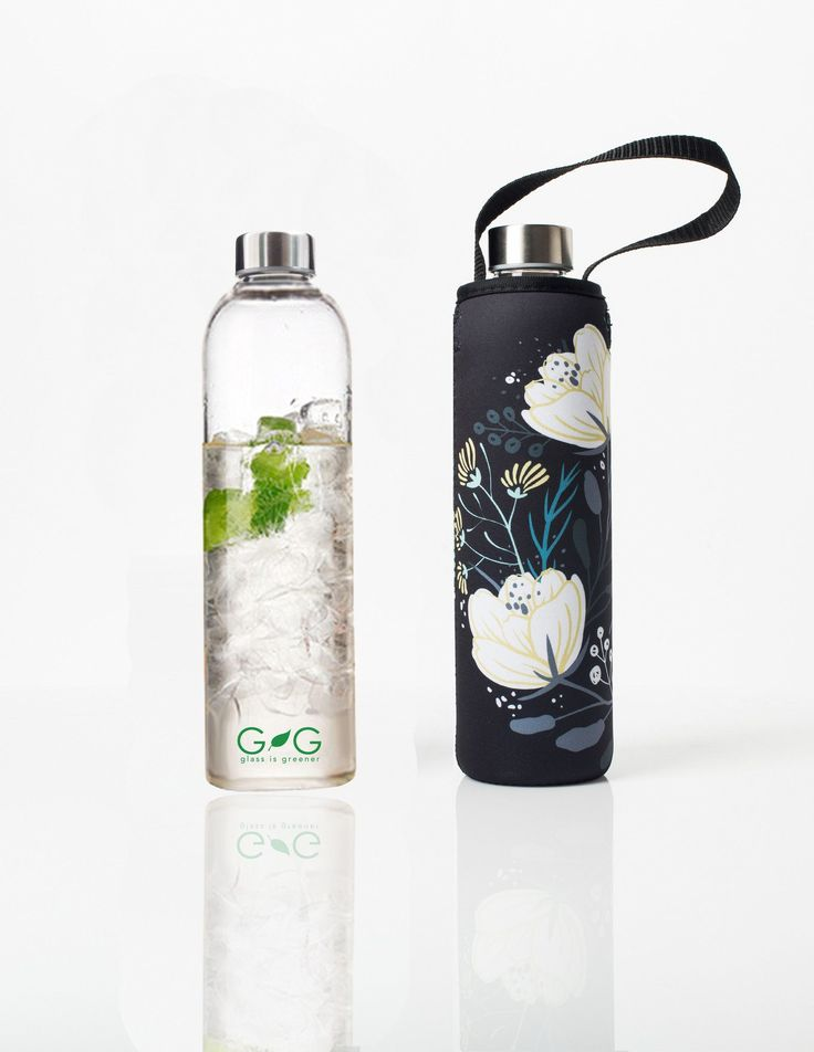 'Glass is Greener' 25 oz Travel Bottle and 'Orient' Carry Cover by BBBYO