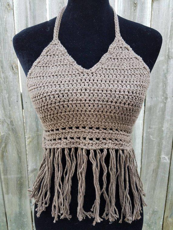 74b6e2fd58 Brown Crochet Halter Top with Fringe Belly Shirt Gift for Her. Handmade  Festival Halter Crop Top. Halter Crochet Boho Crop Top Crochet.