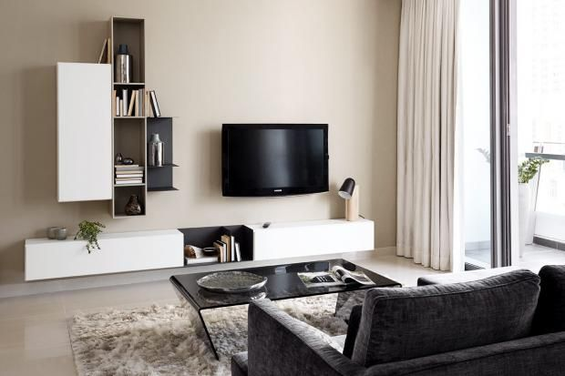 die vielfalt der tv m bel wandsystem lugano mit wandhalterung von boconcept lugano. Black Bedroom Furniture Sets. Home Design Ideas