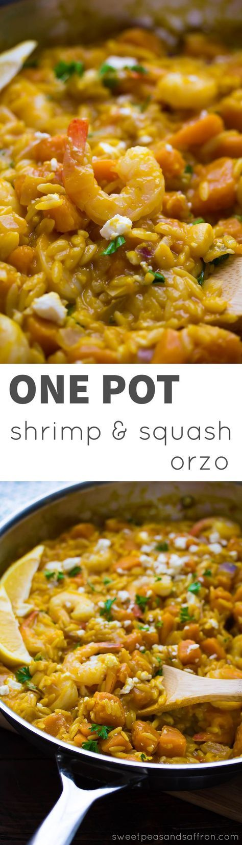 One Pot Shrimp and Squash Orzo, an easy and healthy dinner recipe with only one pan to wash up!