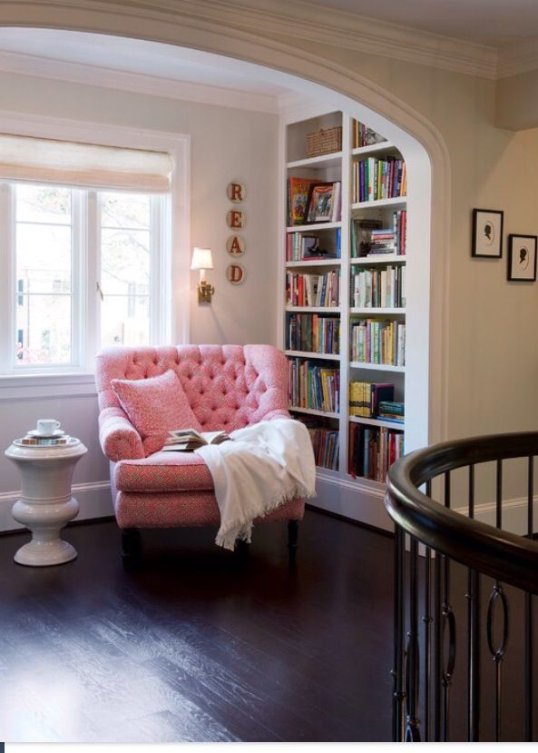 pink reading chair