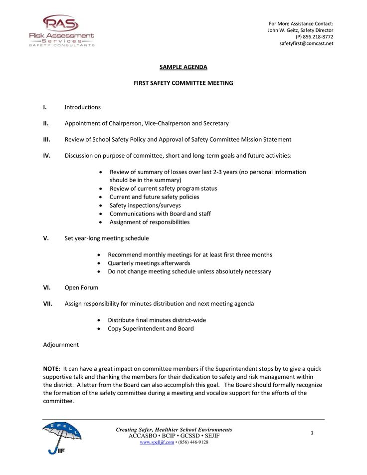 Are You Looking For A Professional Safety Committee Meeting Agenda