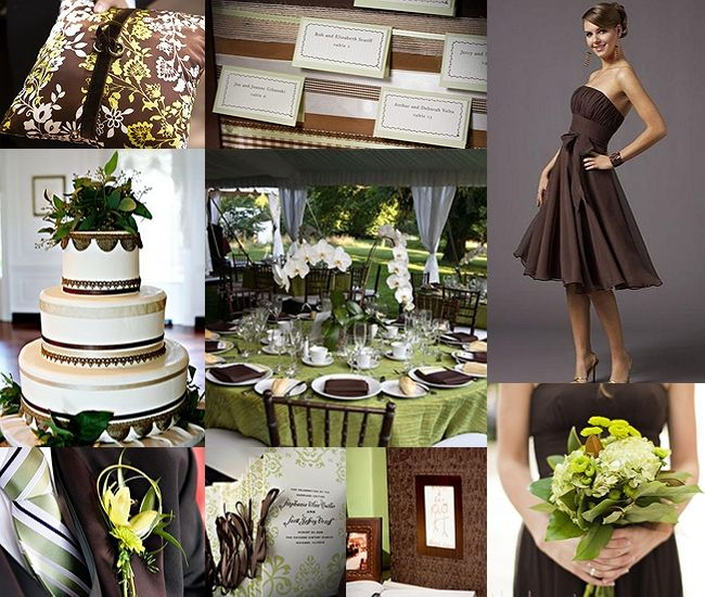 {Wedding Inspiration Board :: Chocolate Brown and Sage Green}There is just something so relaxing about this Chocolate Brown and Sage Green wedding inspiration board… Maybe it's the organic and natural feel of the Brown's and Greens?  Whatever it  is, we feel these two colors really work together as a wedding color palette.