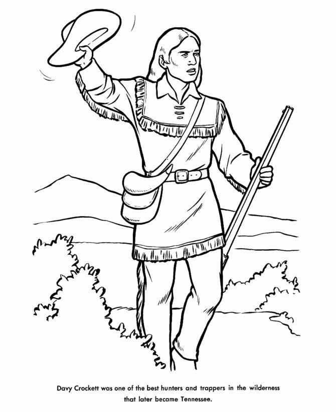david davy crockett frontiersman statesman coloring page