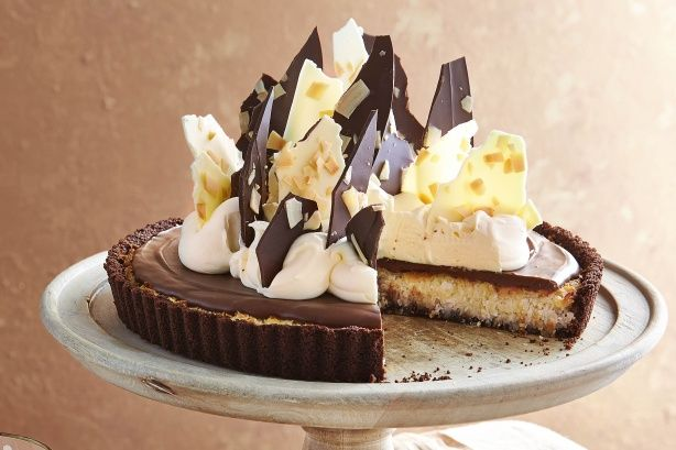 A triple chocolate tart with the nutty sweetness of coconut.