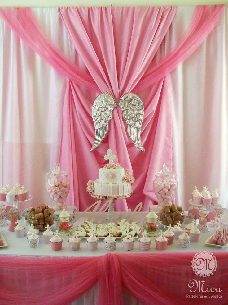 Pink baptism party dessert table! See more party ideas at CatchMyParty.com!