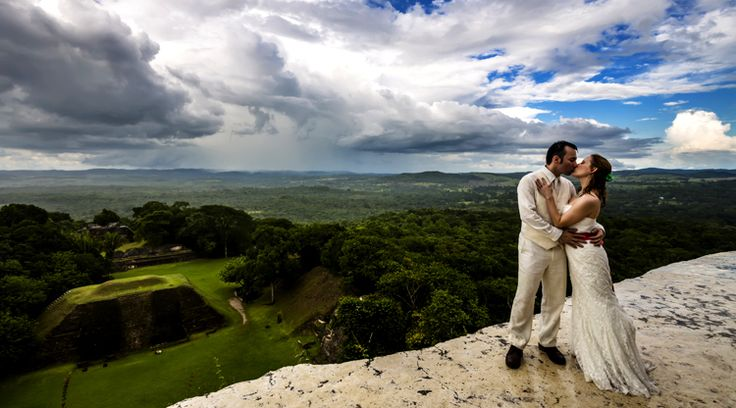 A kiss above the trees. Belize destination wedding at Ka'ana Belize Resort. #xoBelize  Bridal Ceremony | Rainforest Rehearsal