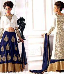 Buy Off white cotton and blue silk velvet bridal salwar with dupatta wedding-salwar-kameez online