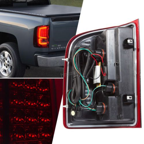 2007-2013-Silverado-Classic-Smoke-Red-Lens-LED-Bar-Tail-Brake-Signal-Lights-Lamp