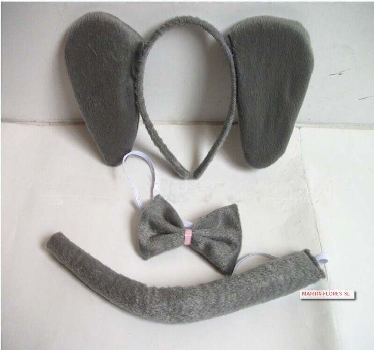 #Disfraz barato animal elefante , incluye orejas , pajarita y rabo para tu #fiesta del colegio #tienda #online golosinas y disfraces #sevilla www.martinfloressl.es