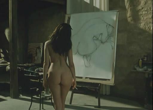 Emmanuelle Beart's beautiful tasty peach behind gets me breathing heavily in 'La belle noiseuse' (1991) Directed by slow art-house Jacques Rivette