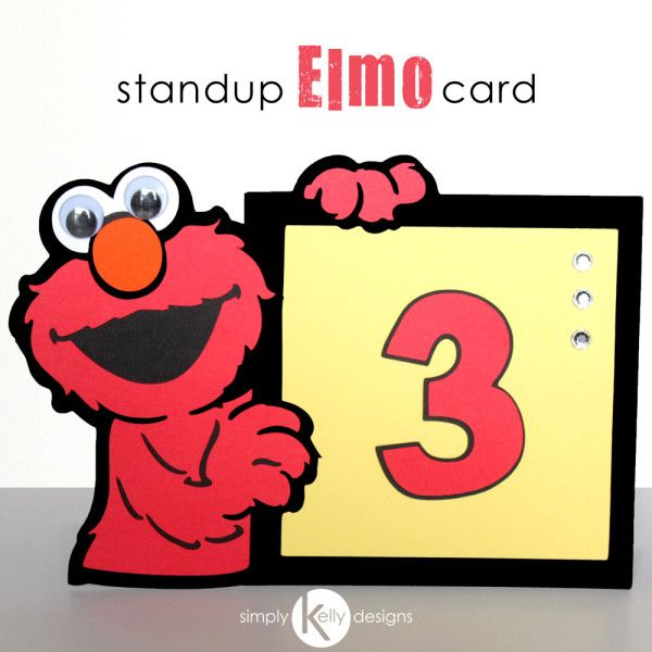 Stand Up Elmo Card from SimplyKellyDesigns #cricut #card #diy